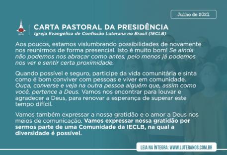 Carta Pastoral da Presidência da IECLB - Julho - 2021